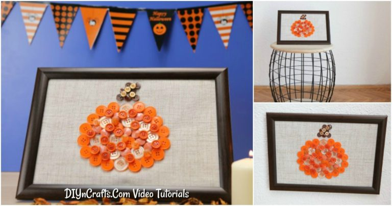 Learn how to make button art that is a cute framed pumpkin