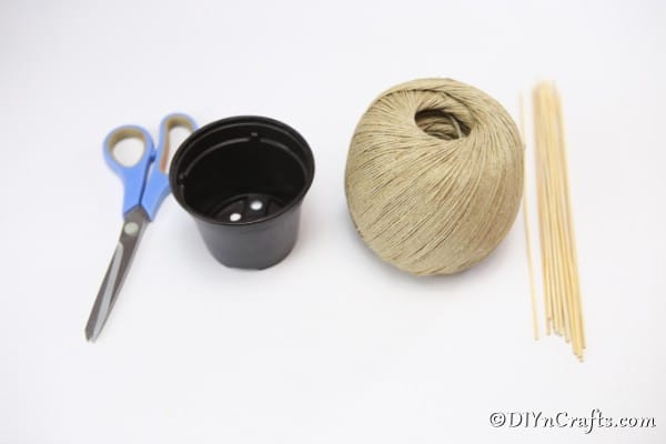 Supplies for making a rustic woven basket
