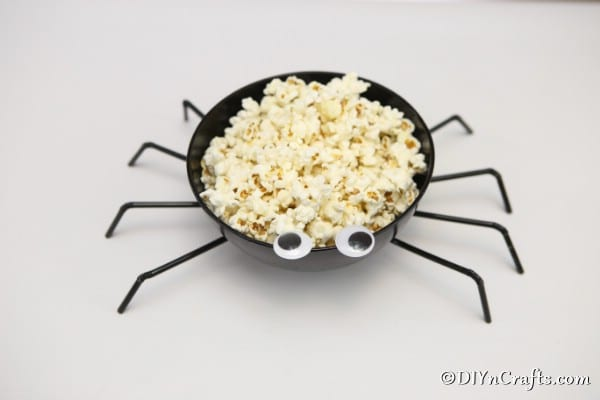 A completed spider bowl for Halloween parties