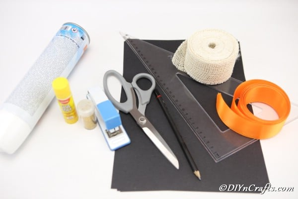 Supplies for making a diy witch hat halloween decoration