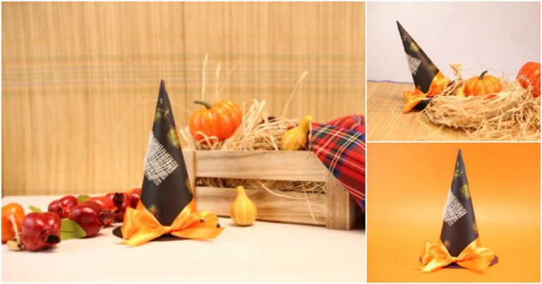 A witch hat decoration sitting on a tan counter with halloween pumpkins