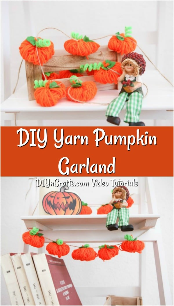 Learn how to make this DIY fall decor yarn pumpkin garland idea in just minutes to add cute decor to your home this season