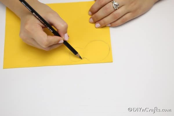 Drawing a bee shape on foam board