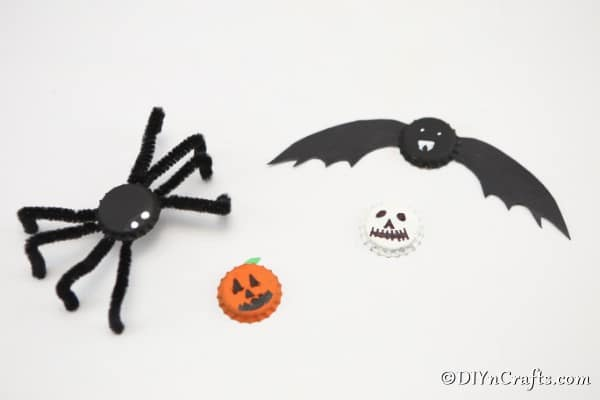 Completed fun magnets that look like bats spiders pumpkins and ghosts
