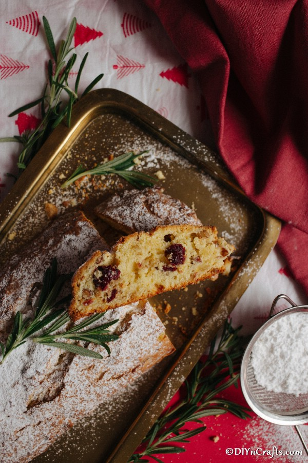 Overhead picture of sliced Christmas stollen