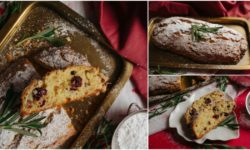 Small collage image of pictures of Christmas stollen