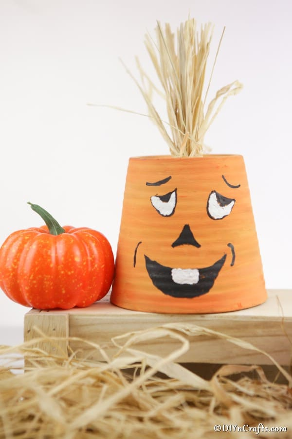 Smiling pumpkin planter on crate