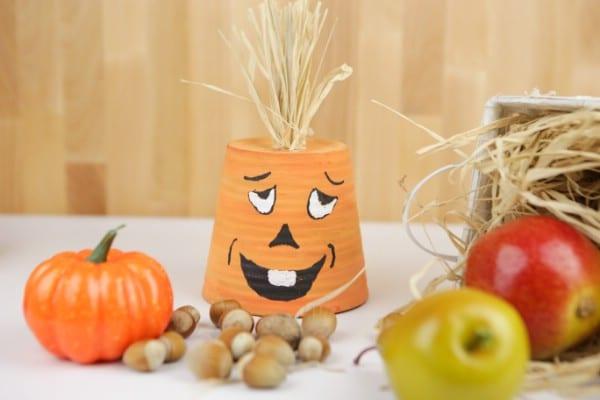 Silly Face Pumpkin Planter Craft