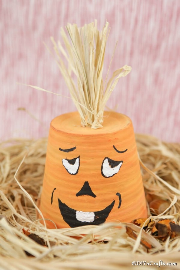 A finished silly faced pumpkin planter on decorative hay