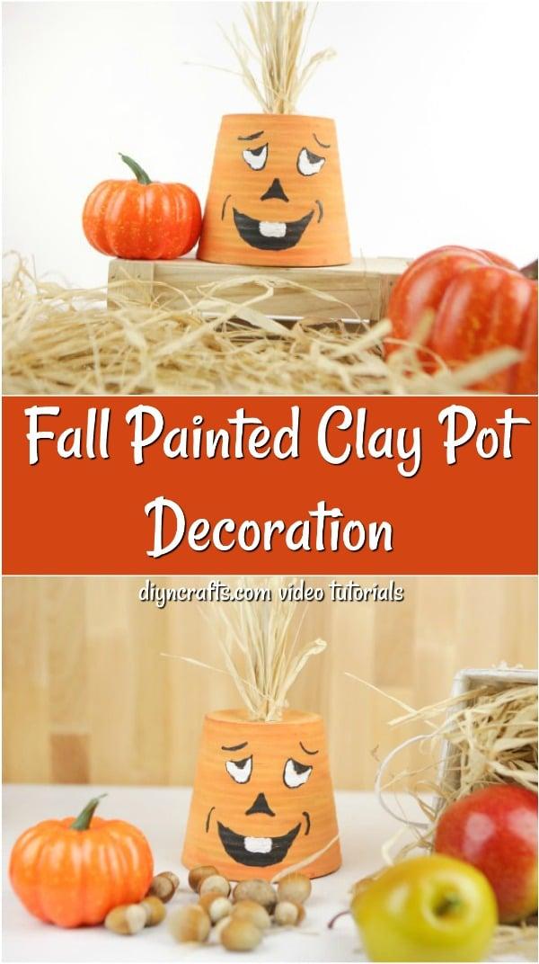 Collage of making a painted flowerpot pumpkin face