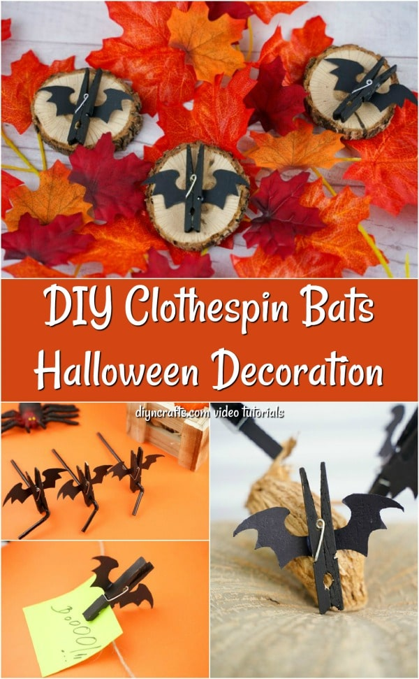 Collage picture of a Halloween bat clothespin craft