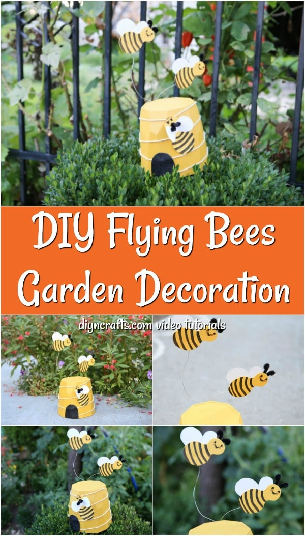 Collage image of a diy flying bee decoration for the garden