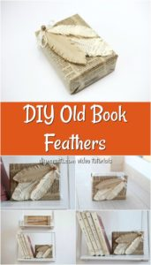 A collage image of how to make decorative feathers out of an old book page