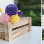 Collage image of displays of pom pom flowers made from yarn