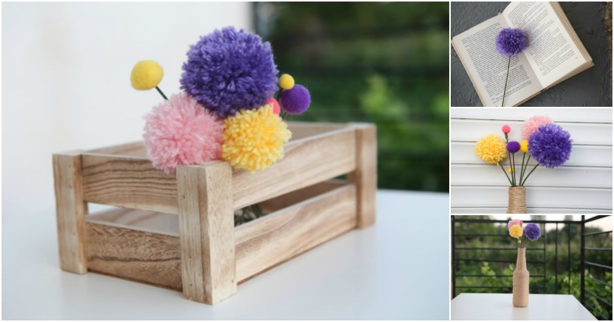 Adorable DIY Pom Pom Flowers Bouquet Decoration