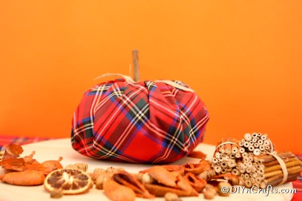 Fabric pumpkin displayed with other fall items in front of orange background