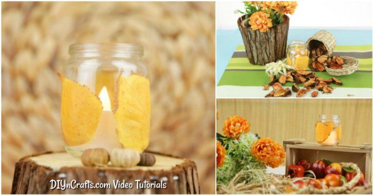 Small collage image of fall candle lantern in various poses