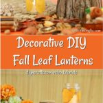 Collage image of how to make a fall leaf candles lantern out of small jar