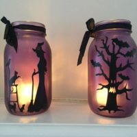 Halloween Decorations Purple, Orange or Pink- Mason jar