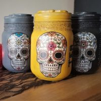 Set of Three Sugar Skull Glass Kitchen Storage Jars
