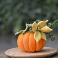 Halloween centerpiece felt Pumpkin flower twig