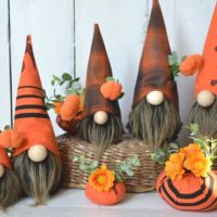 Halloween gnomes with pumpkin decoration