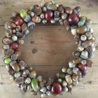 Autumn acorn and conker wreath