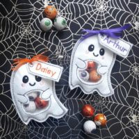 Personalized Halloween treat bags.