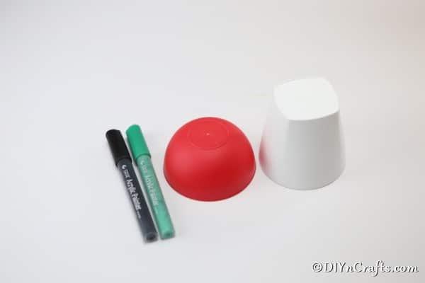 Supplies for painted mushroom planter