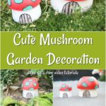Collage image of how to make a mushroom planter garden decoration