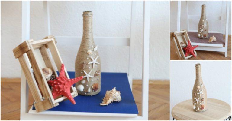 Collage image of nautical wine bottle decor