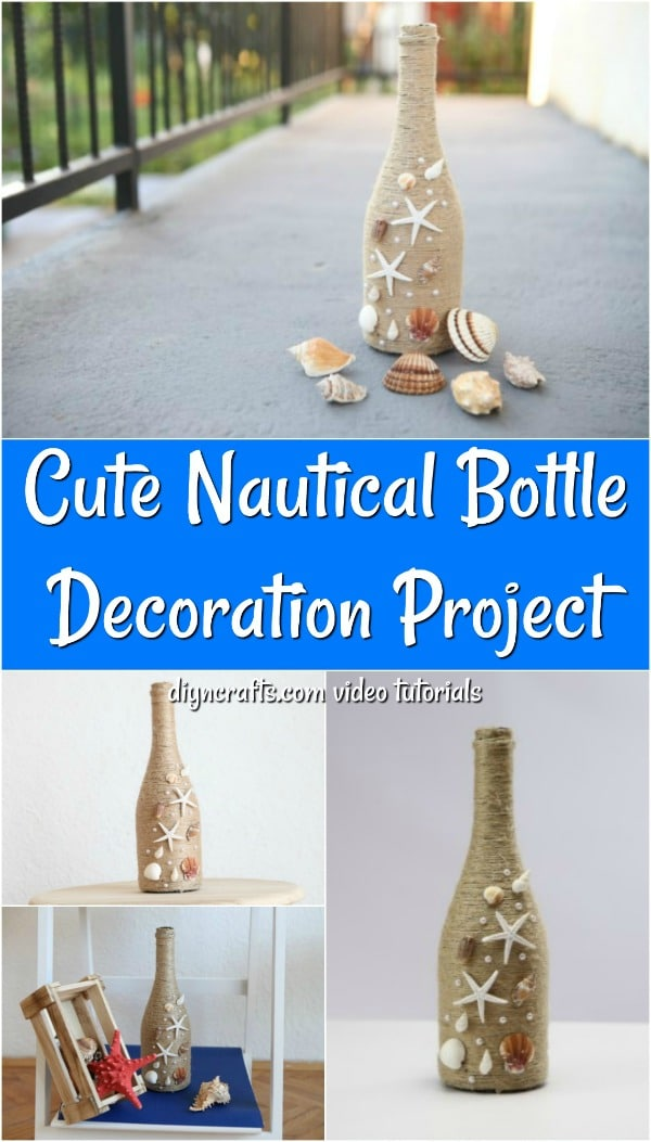 Wine bottle decor with rustic twine and shells displayed in various ways