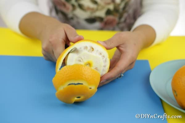 Peeling an orange in one long strip for an orange flower decoration