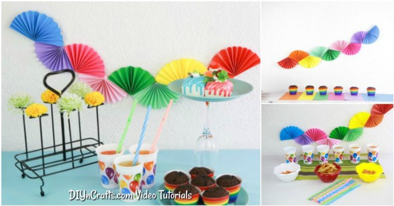 Small collage image of paper fan garland being displayed