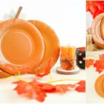 A small collage picture of a paper plate craft pumpkin