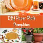 Collage image of paper plate pumpkin craft