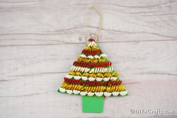 A completed pasta tree Christmas decoration
