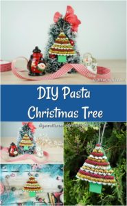 A collage of a christmas tree decoration made with pasta