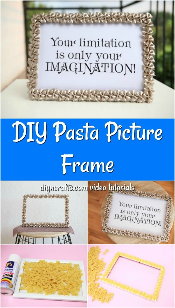 Collage image of a macaroni art picture frame