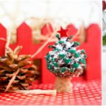Small collage image showing a mini christmas tree pine cone being displayed