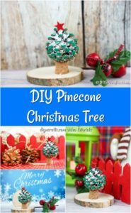 Collage image of a homemade painted pine cone ornament for Christmas