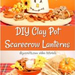DIY scarecrow clay pot lantern sitting on a cloth with orange background