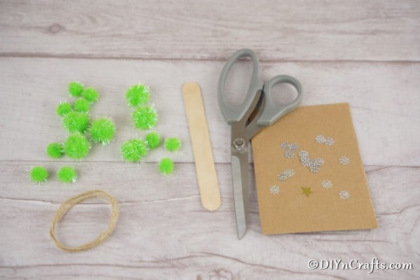 Supplies for making pom pom trees for Christmas ornaments