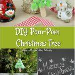 Collag e picture of how to make a pom pom tree for Christmas ornament