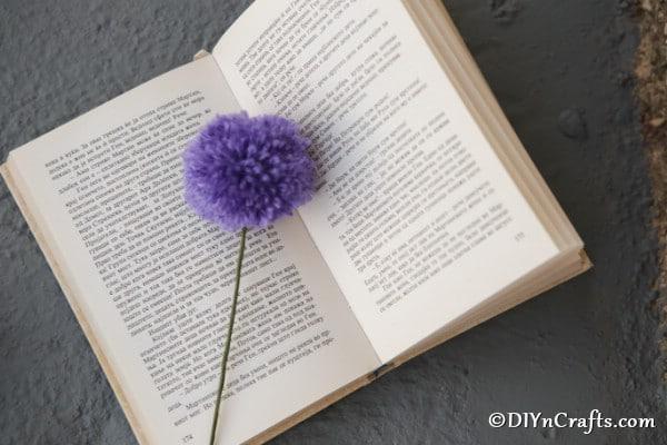 A purple yarn pom pom flower on a an open book