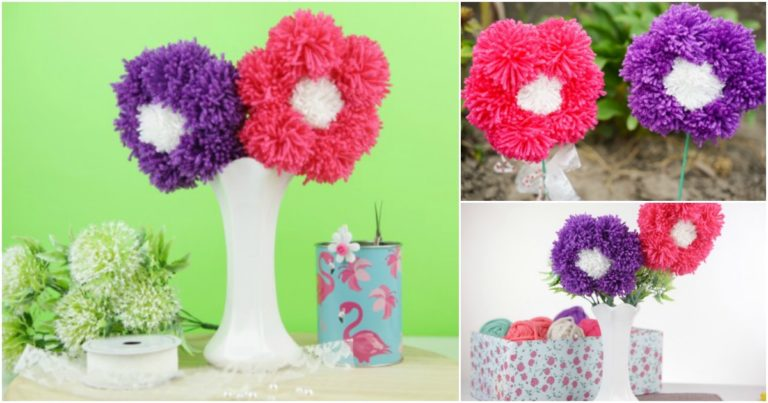Collage image of purple and pink yarn pom poms made into flowers