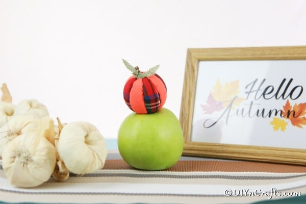A cloth pumpkin sitting on top of a green apple with a picture and string of garlic in the background