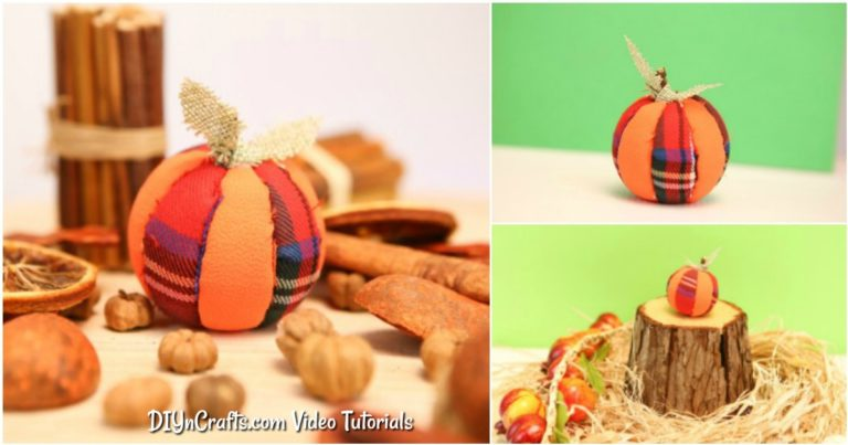 Small collage image of pumpkin ornament being displayed