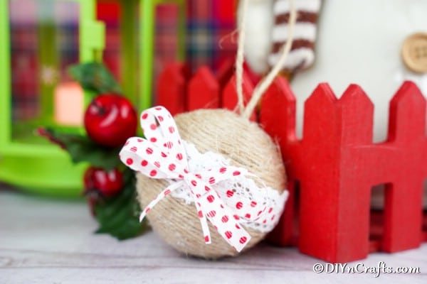 Up close picture of a rustic christmas ornament