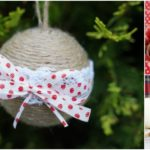 Rustic Christmas ornaments with twine ribbon and lace